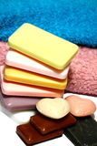 Hand soap and towels Royalty Free Stock Photography