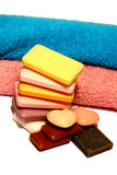 Hand soap and towels Stock Photo