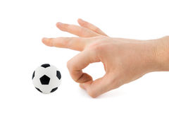 Hand and soccer ball Royalty Free Stock Images