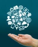 Hand social icons Stock Image