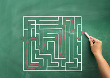 Hand solving maze drawn on blackboard Stock Images