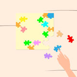 Hand Solving Puzzle Task Top Angle View Stock Image