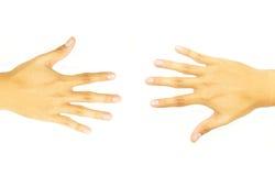 hand som är öppen mitt emot sida två Royaltyfri Bild