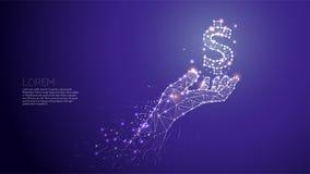 Hand som att bry sig under världen Abstrakt vektorillustrationhand Royaltyfri Bild