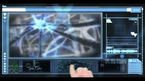 Hand som bläddrar till och med medicinsk manöverenhet stock video