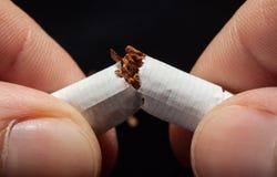 Hand som bryter cigaretten Royaltyfri Fotografi