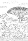 Hand som drar dekorativa landskapträd och stenar vektor illustrationer