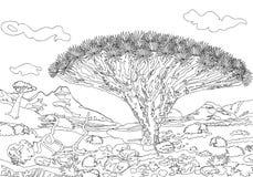 Hand som drar dekorativa landskapträd och stenar stock illustrationer
