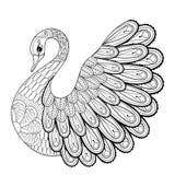 Hand som drar den konstnärliga svanen för vuxna färgläggningsidor i klotter royaltyfri illustrationer