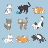 Hand som drar gulliga katter Vektorpottsamling royaltyfri illustrationer