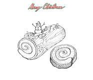 Hand som dras av traditionell jul kaka eller Yule Log Cake stock illustrationer