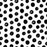 Hand som dras med den sömlösa modellen för färgpulver med svarta cirklar Seamless abstrakt grunge mönstrar Royaltyfri Foto
