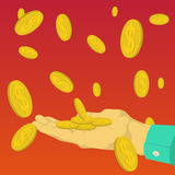 Hand som fångar pengar falla från himlen Royaltyfri Bild