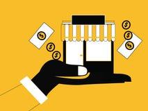 Hand som framlägger shoppa stock illustrationer