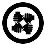 Hand som fyra tillsammans rymmer färg för svart för symbol för lagarbetsbegrepp i cirkelrunda stock illustrationer