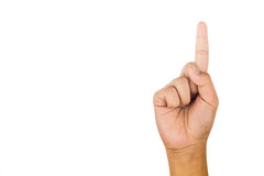 Hand som gör en gest nummer ett mot vit bakgrund Royaltyfri Bild