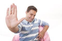 hand som gör tecknet att stoppa Arkivbild