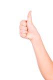 Hand som gör upp tum Arkivfoto