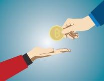 Hand som ger bitcoin på en blå bakgrund Begreppsaffärsillus Arkivfoto