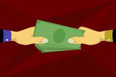 Hand som ger pengar och tar pengar Fotografering för Bildbyråer