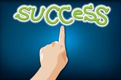 hand som pekar framgång till att trycka på Arkivbild