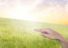 Hand som pekar i luft av det fridsamma landskapet Arkivfoto