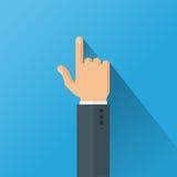 Hand som pekar med illustrationen för vektor för pekfingerlägenhetstil Royaltyfri Bild