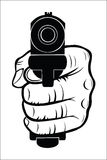 Hand som pekar med vapnet på dig Arkivfoton
