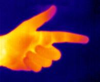hand som pekar thermographen Royaltyfri Foto