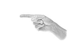 hand som pekar till vänster royaltyfri foto