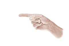 hand som pekar till vänster sepia till royaltyfria foton