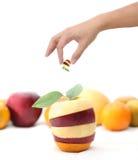 Hand som rymmer blandad frukt Royaltyfri Fotografi