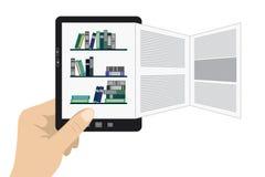 Hand som rymmer den bärbara moderna minnestavlaeBookavläsaren Fotografering för Bildbyråer