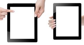 Hand som rymmer den Digital minnestavlan Arkivfoton
