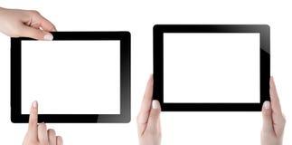 Hand som rymmer den Digital minnestavlan Royaltyfri Fotografi