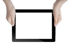 Hand som rymmer den Digital minnestavlan Arkivbilder