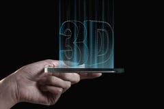 Hand som rymmer den genomskinliga smartphonen 3D Royaltyfria Bilder