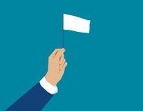 Hand som rymmer den vita flaggan Begreppsaffärsillustration vektor Arkivfoton