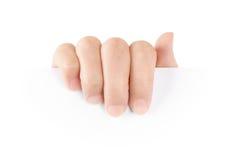 Hand som rymmer det blanka paper kortet Fotografering för Bildbyråer