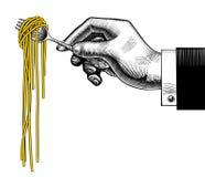 Hand som rymmer en gaffel med spagetti stock illustrationer