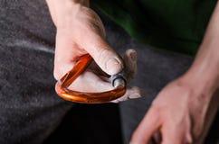 Hand som rymmer en karbin på ett rep Klättringutrustning på en vit bakgrund Royaltyfri Foto