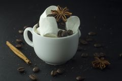 Hand som rymmer en kopp kaffe med marshmallowen Royaltyfria Foton