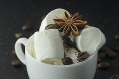 Hand som rymmer en kopp kaffe med marshmallowen royaltyfria bilder