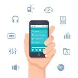 Hand som rymmer en mobilMP3-spelare stock illustrationer