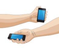 Hand som rymmer en smart telefon Royaltyfri Bild