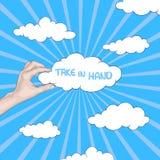 Hand som rymmer ett moln Vektor Illustrationer