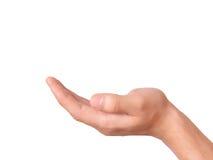 Hand som rymmer ett objekt på vit bakgrund royaltyfri fotografi