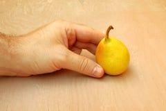 Hand som rymmer ett päron Arkivbilder