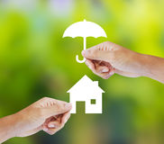 Hand som rymmer ett pappers- hem och paraply på grön bakgrund Royaltyfri Bild