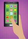 Hand som rymmer Handphone med illustrationen för Apps symbolsvektor Royaltyfri Foto